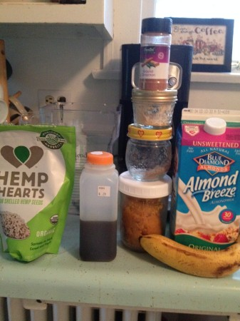 simple ingredients!  Hemp Hearts, Maple syrup (or dates) banana, almond milk, cinnamon, ginger and nutmeg!